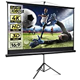 SUPER DEAL 100'' Projector Screen with Stand,Portable Indoor Outdoor Projection Screen 16: 9 HD Wrinkle Free Foldable Stand Tripod