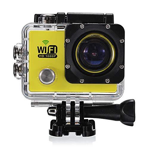 Lisansang Cámara de acción DVR Deportes cámara 1080P WiFi Coche a Prueba de Agua SJ6000 Pantalla de 2.0 Pulgadas LCD para Bicicleta, Buceo, natación (Color : Yellow, Size : One Size)