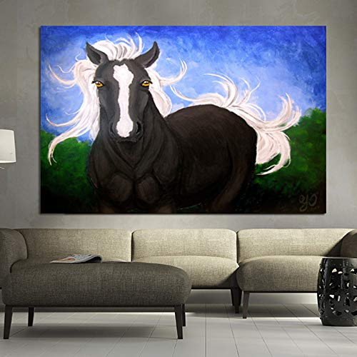 Abstrakte Pferdeflügel fliegen in den Himmel Leinwand Malerei Wohnzimmer Wandbild moderne Dekoration Poster rahmenlos B 70x140cm