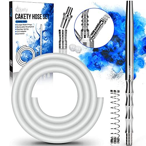 Cakety Cachimba Manguera Shisha Tubo 150cm y Aluminio Boquilla y Adaptador de ojo y Conexión Rosca M16x1 y Resorte Anti-torsión - Accesorios para Cachimba de Alta Calidad + Caja de Regalo H04 - Blanco