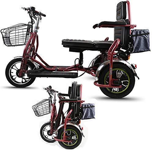 Xiaotian 3-Rad Elektroroller Für Erwachsene, Tragbarer Reiseroller Faltbares Elektrorad Fahrrad Leichter Elektrorollstuhl Mit Sitz Für Senioren Mit Behinderung,48V8AH/30km