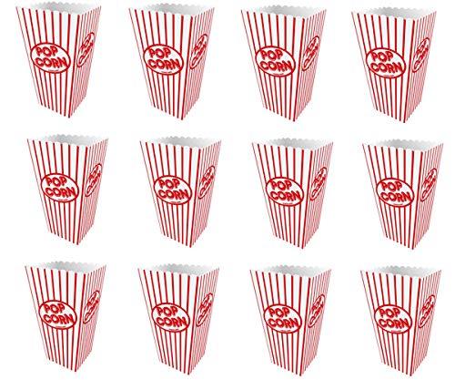 KINPARTY  - 20 Cajitas para Palomitas o golosinas de cartón a rayas rojas y blancas – 15 x 10 cm - Pop Corn Box