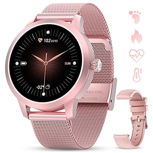 GOKOO Smartwatch Mujer Rosa Reloj Inteligente IP68 Impermeable Rastreador de Fitness Pantalla Táctil Completa Reloj Deportivo Inteligente Pulsómetros Podómetro Calorías Compatible con iOS Android.