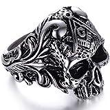 Jude Jewelers Stainless Steel Gothic Skull Vintage Masonic Biker Ring (Silver, 10)