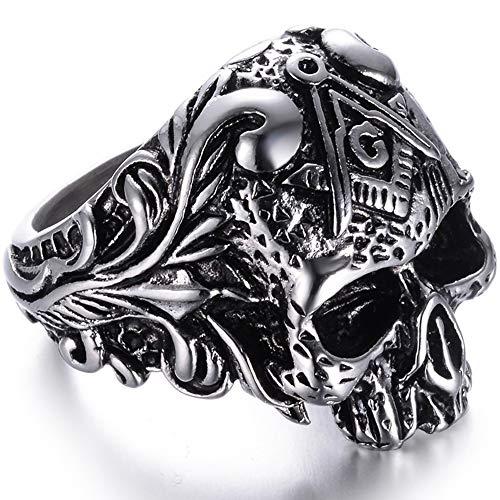 Jude Jewelers Stainless Steel Gothic Skull Vintage Masonic Biker Ring (Silver, 13)