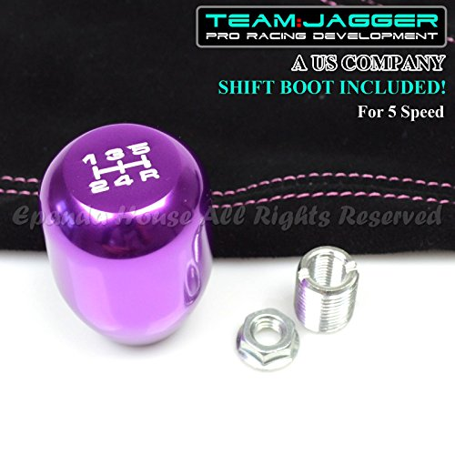 EpandaHouse Team Jagger White 5-Speed Print Manual Gear Shift Knob Purple M8x1.25 Thread+Suede Boot