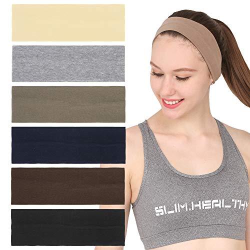 Folora 6Pcs Stretchy Elastic Solid Stirnbänder, Baumwolle Sport Haarband für Frauen Mädchen, Geeignet für Yoga, Pilates, Laufen, Radfahren