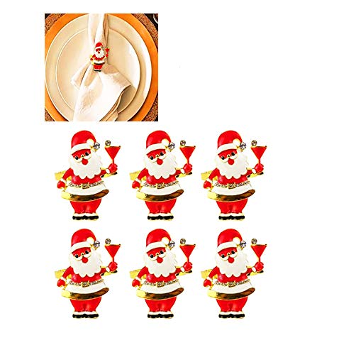 Christmas Xmas Father Santa Claus Napkin Rings,6 PCS Metal Alloy Serviette Buckles Holder for Thanksgiving, New Year,Christmas Dinner Parties