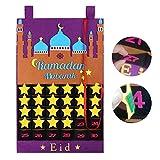knowledgi 2020 Adventskalender Ramadan, Ramadan Kalender 30 Tage Eid Mubarak Hängende Filz Countdown Kalender für Kinder Eid Geschenke Ramadan Dekorationen