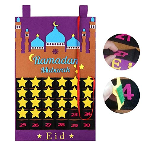 Eid Mubarak Adventskalender Filzkalender, Ramadan Countdown Kalender Mit Zuckertaschen Für Kinder Geschenke Ramadan Party Gefälligkeiten