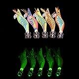 Shaddock - Señuelos de Calamar, 10 Unidades, señuelo Artificial, Kit de cebos de gambas de Madera Luminosa, Cebo de Pesca con Gancho, Kit de Pesca de Colores Surtidos, 2.5#-10pcs
