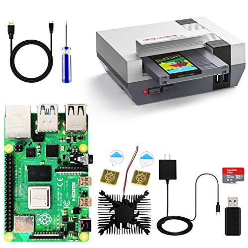 RETROFLAG Raspberry Pi 4 Model B 4GB Basic Starter Kit, Raspberry Pi 4 Case Complete Kit with 32GB SD Card, SSD CASE, Power Supply, HDMI Cable, Cooling Fan & Heatsinks for Raspberry Pi 4 Model/Pi 4B