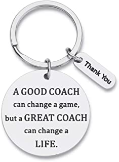 Coach Keychain Gifts For Coaches Men Women Basketball Cheerleading Thank You Appreciation Retirement Gifts Key Chain Gymnastics Swim Volleyball a Great Coach Can Change a Life Key Tag Pendant Gifts