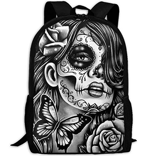 Casual Boys Daypack Backpacks For High School Girl Flower Sugar Skull White