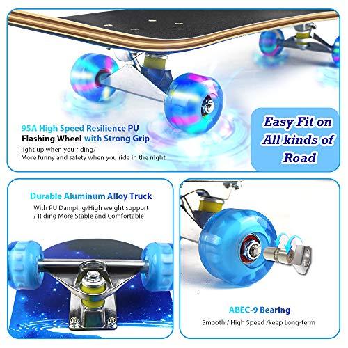 Easy_Way Complete Skateboards- Standard Skateboards for Beginners Kids Boys Girls Teenager- 31''x 8''Canadian Maple Cruiser Pro Skate Board, Skateboards