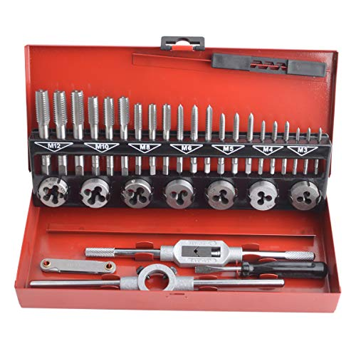 Gunpla 32 Pieces Tap and Dies Set Tungsten Heavy Duty Alloy Steel Metric Screw Threads Cutting Tools Taper Drill Threading Kit with Storage Case