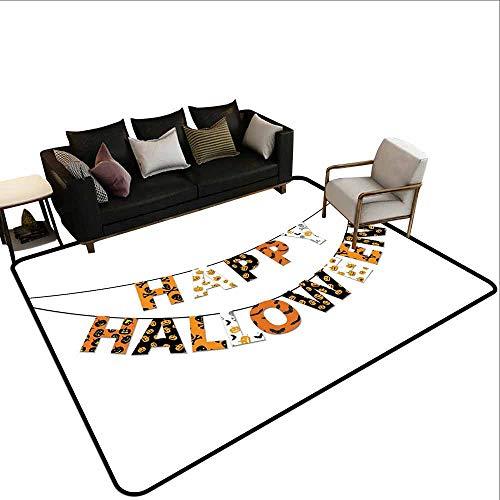 MsShe tapijt Halloween, Leuke grappige vleermuis met plaat Boo Fangs Scare Frighten seizoensgebonden Cartoon Print,Oranje Zwart Wit