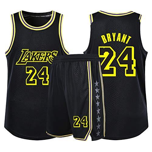Kobe Bryant ragazze dei ragazzi Basketball Fans Jersey set, Los Angeles Lakers NO.24 Giovane swingman maglie maglia di estate camicia + bicchierini insieme a due pezzi ( Color : Black , Size : L )