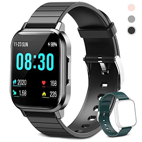 Smartwatch für Damen Herren Kinder, Fitness Armbanduhr 1,4 Zoll Touchscreen, Fitnessuhr Fitness Tracker mit Schrittzähler, Herzfrequenzmesser, Schlafmonitor, Smart Watch für iOS Android Handy (Noir)