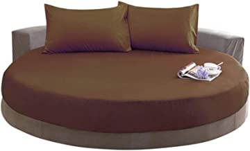 The Great American Store 72 Inch Daimeter Round Sheet Set with 8 Inch Deep Pocket Solid Brown - 1800 Series Brushed Microfiber Bed Sheet Set