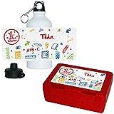 Eurofoto Brotdose + Trinkflasche Set mit Namen Tilda und schönem Motiv zur Einschulung für Mädchen | Aluminium-Trinkflasche | Lunchbox | Vesper-Box