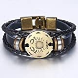 ZUOZUO Lederarmband Zodiac Constellation Herren Lederarmband Retro Vintage Charm Armband Herrenschmuck Herren Geschenk