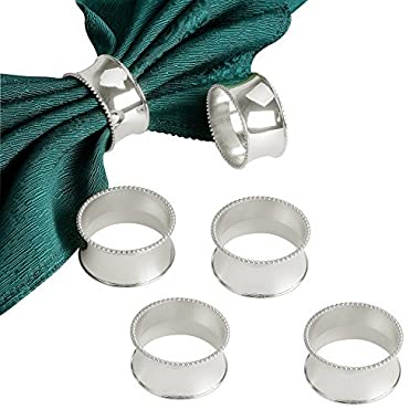 Derker Set of 12 Beaded Round Napkin Rings for for Wedding, Party, Holiday, Dinner (12pcs Silver)
