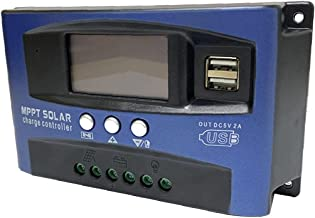 MPPT LADING BOARD Controller, Solar Charge Controller Dual USB LCD-display 12V 24V (blauw, 50A)