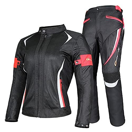 LITI Damen Motorradkombi 2-teiliger Jacke Und Hose Mit CE Protektoren Reflektierendes Design Trocken Und Bequem Für Alle Wetter