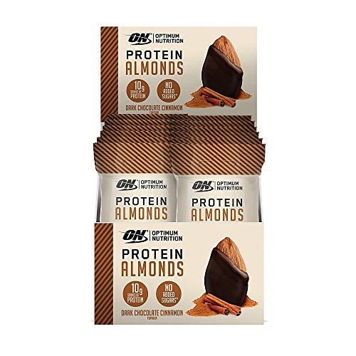 Optimum Nutrition Isolate Whey Protein Almonds with 10g Protein per Serving on the Go Snack by ON), Dark Chocolate Cinnamon (12 x 43g)