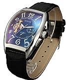 SEWOR Mens Automatic Business Dress Tonneau Moon Phase Wrist Watch Mechanical Self Wind (Black)