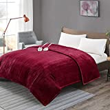 [ADVANCED] Plush Electric Blanket King Size Dual Control, Washable Heated Blankets with Auto...