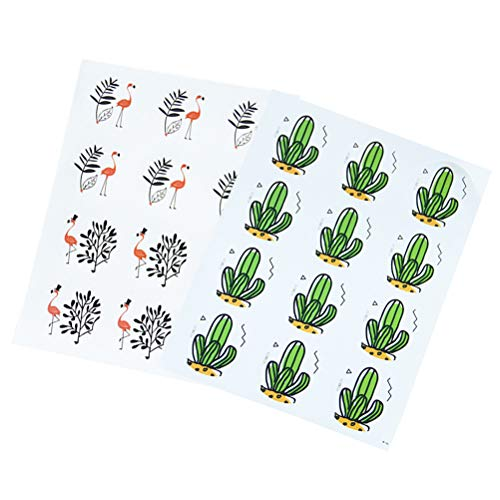 Amosfun Pegatinas de 20 Hojas de Recortes Pegatinas de Cactus de Flamingo Pegatinas Adhesivas para álbumes de Recortes, Cajas, Bolsas de la Compra, Paquete de pudín, Bolsas de Pan de Pastel