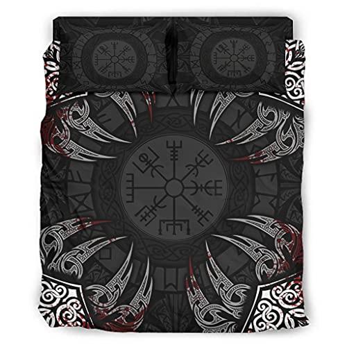 Hanebar Laickter Juego de cama de 4 piezas Viking elegante diseño de microfibra súper suave – Sábanas de cama de 203 x 230 cm