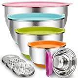 Mixing Bowls with Airtight Lids, Blingco Stainless Steel Metal Nesting Bowls Set of 5, Size 5, 3, 2,...