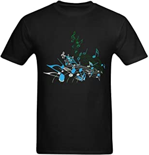 Yvonger Men's Free Music Note Colorful Awesome Design Tshirts