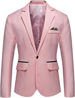 37f8ec0bb074 WAWAYA Men's Slim 1 Button Business Casual Pure Color Blazer Jacket Suit  Coat