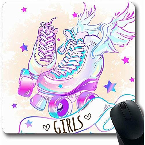 Mauspads für Computer Kid Pink Baby Girly Highdetailed Rollers Skate Schuhe Sport Erholung Spaß Skizze Star Street Design Längliche Form Rutschfeste Längliche Gaming Mausunterlage 30X25CM