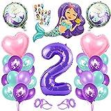 2er Cumpleaños Globos,Globos 2 Años Sirena,2 año Niña Cumpleaños,Sirena Numero 2 Globos,Sirena Niña 2 Año,Morado Globo Número 2,Sirena Globos 2 año Cumpleãnos Niña Fiesta Party Decoración