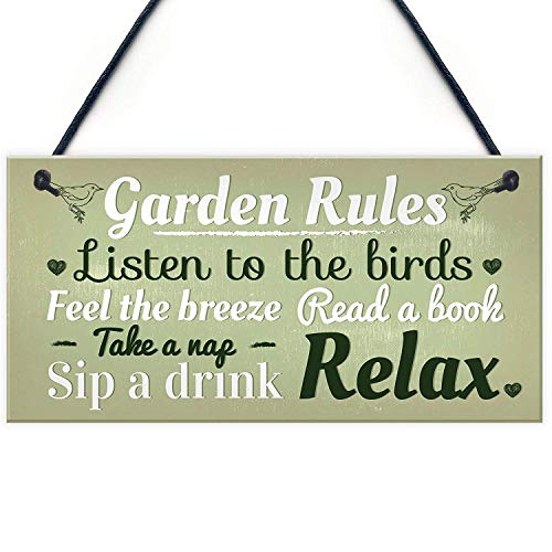 Garden Rules Novelty Hanging Plaque Summer House Sign Garden Shed Friendship Gift