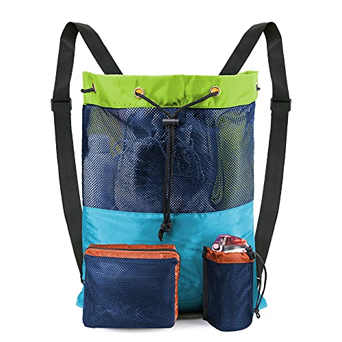 BeeGreen Mixed Color Swim Bag Beach Bag Backpack for Swimmers Gear Workout Pool Large Mesh Drawstring Backpack Bag