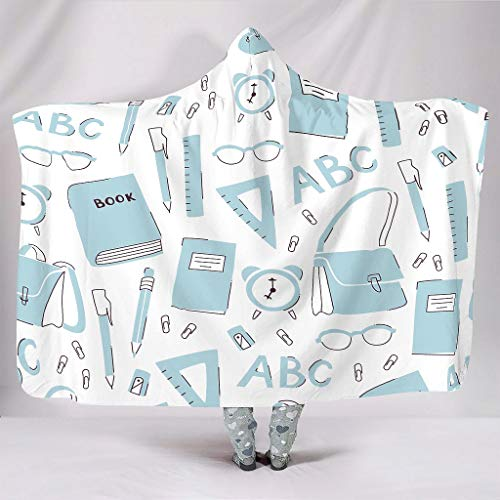 Fineiwillgo Manta con capucha de efecto artístico de microfibra, supersuave, para adolescentes, sofá o sillón de salón, color blanco, 130 x 150 cm