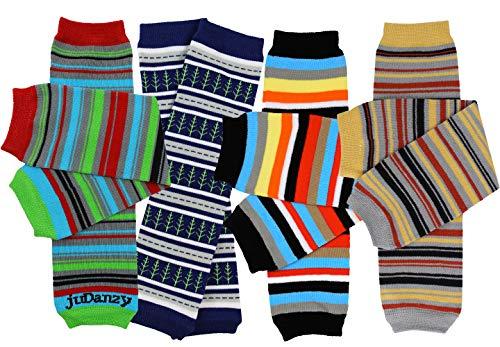 juDanzy newborn 4-pack baby leg warmers (Newborn- 15 pounds) (Boy Stripes)