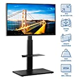 Rfiver Universal Swivel Floor TV Stand for Most 32'-65' LCD LED Flat/Curved Screen TVs, TV and Media Shelf Height Adjustable, Sturdy Wood TV Mount Stand with Internal Cable Management, Black