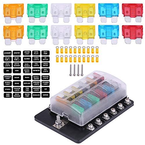 Yagosodee Caja de fusibles estándar ATO ATC Block Holder Kit de 12 vías para coche, camión, barco, 4-6 AWG