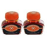 Thornton's Luxury Goods Fountain Pen Ink Bottle, 30ml, Set of 2 - Orange Suitable For All Brands International Standard Bottled Ink Premium Refill for Calligraphy Pens