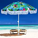 AMMSUN 6.5ft Outdoor Patio Beach Umbrella Sun Shelter with sand anchor and fringe UV50+ Sun Protection, Lightweight, Portable & easy,Perfect for Beach, Camping, Sports, pool,Gardens, Balcony and Patio