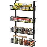4 Tier Magnetic Spice Rack | Strongly Magnetic Spice Shelf with Utility Hooks | Refrigerator Spice Storage | Kitchen Storage Rack for Placing Seasoning Bottles, Plastic Wraps or Garbage Bags (Black)