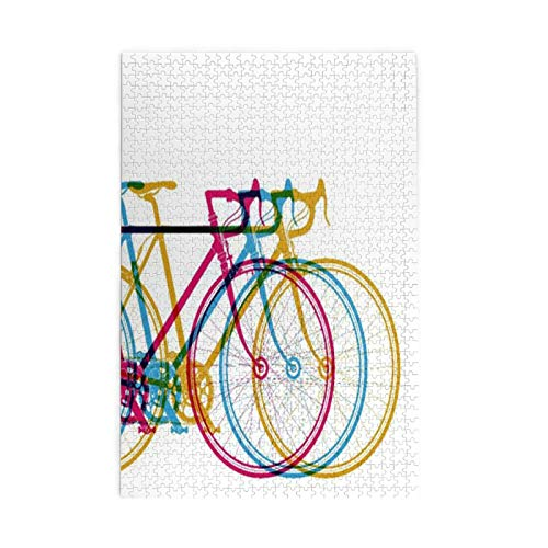 Children's Challenging Game - Cycle Abstract Bikes In On White Bicycle Race Fun - Printed Large Puzzle As Present For Birthday 1000 Pieces