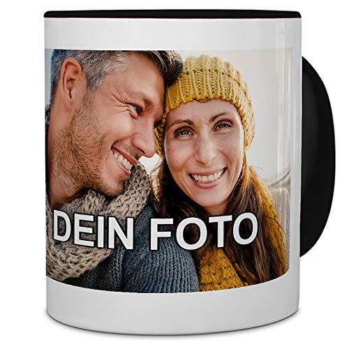 PhotoFancy® - Tasse mit Foto Bedrucken Lassen - Fototasse Personalisieren – Kaffeebecher zum selbst gestalten (Schwarz)